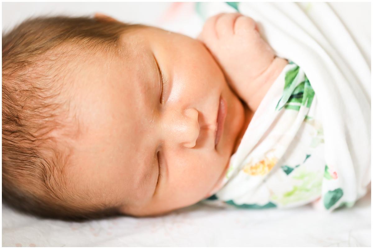 Newborn baby girl macro lens