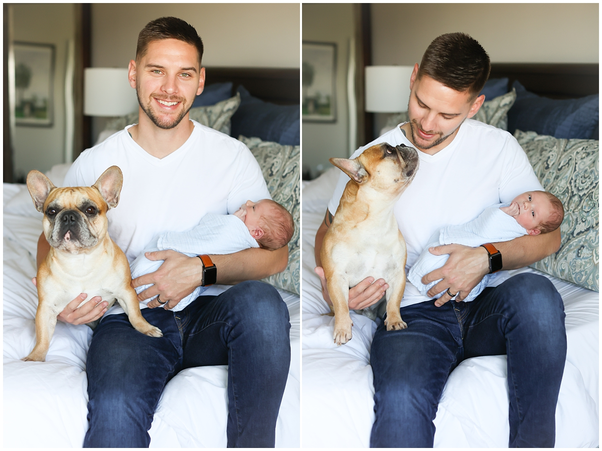 New dad with baby and dog