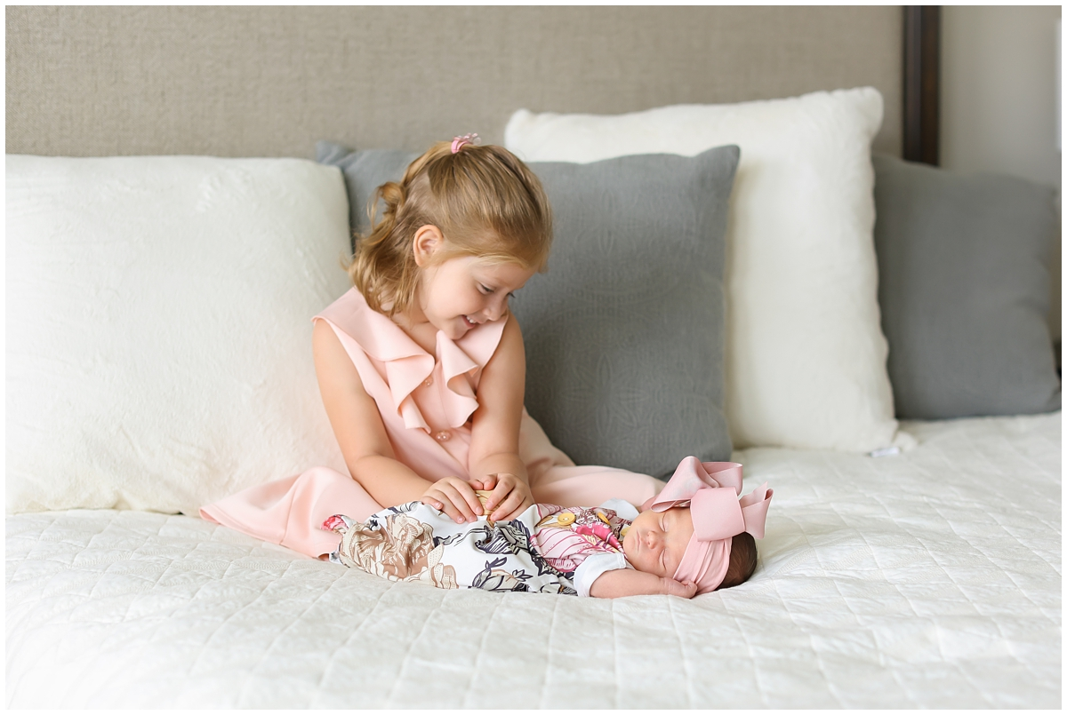 Big little sister newborn photos